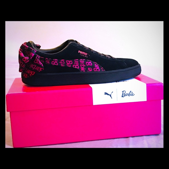 innovative design b47a2 b6de7 PUMA Black Suede Barbie shoes NWT